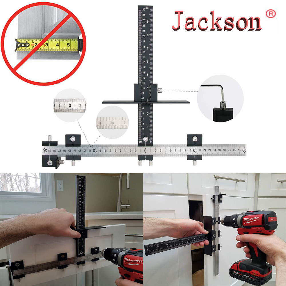 Aluminum Alloy Cabinet Hardware Jig Adjustable Punch Locator Tool Drill Guide Template Wood Drilling Dowelling For Installation
