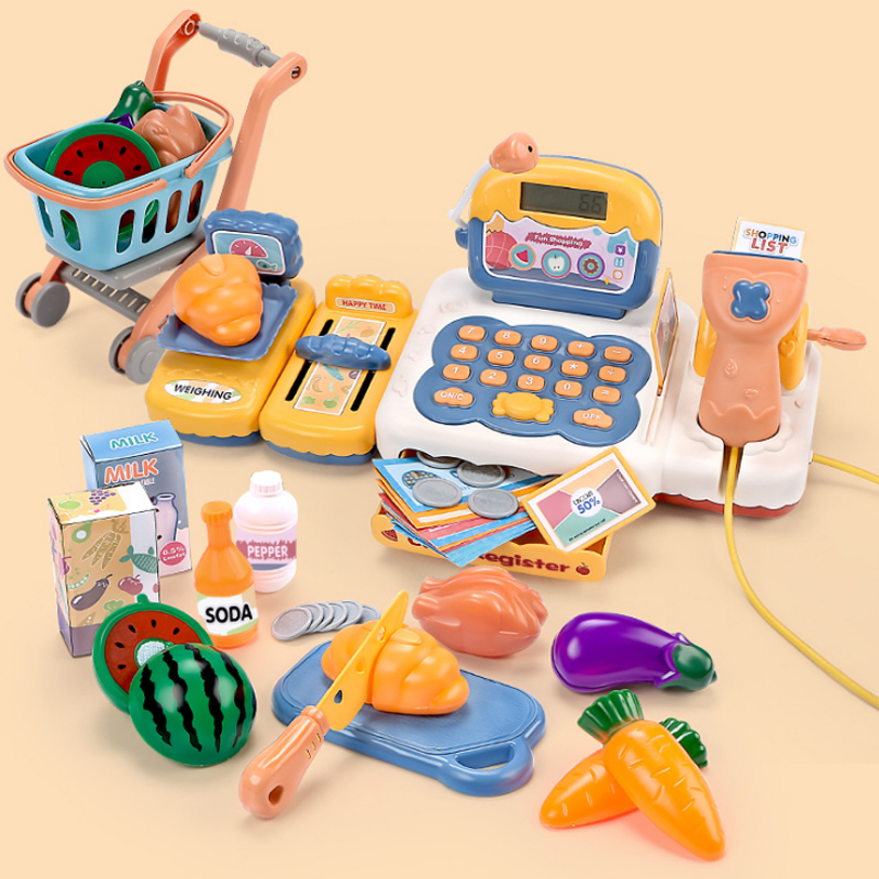 Baby Pretend <font><b>Toy</b></font> Simulation Supermarket <font><b>Cashier</b></font> <font><b>Toy</b></font> Children Play Set with Light Sound Mini Shopping Cart Boy Girl Gift image