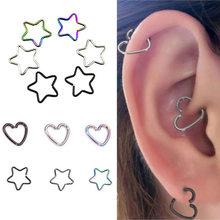 2Pcs Heart/Star Shaped Helix Fake Tragus Piercings Stainless Earrings Cartilage Daith Ear Studs Lip Nose Rings Body Jewelry(China)