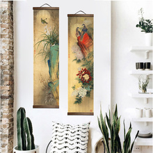 Chinese Style Flower Green Plants Canvas Decorative Painting Store Bedroom Living Room Wall Art Solid Wood Scroll Paintings