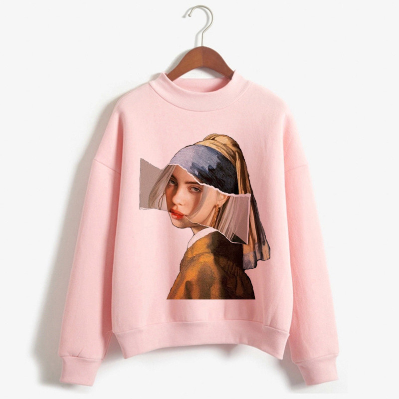 Billie Eilish Harajuku Funny Cartoon Turtleneck Hoodies Women Autumn Winter Warm Bad Guy Graphic Sweatshirt Hip Hop Hoody Female