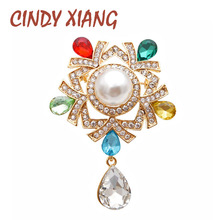 CINDY XIANG Rhinestone And Pearl Water Drop Brooch Autumn Winter Fashion Brooches For Women New Deisgn Wedding Bouquet Pin 2019