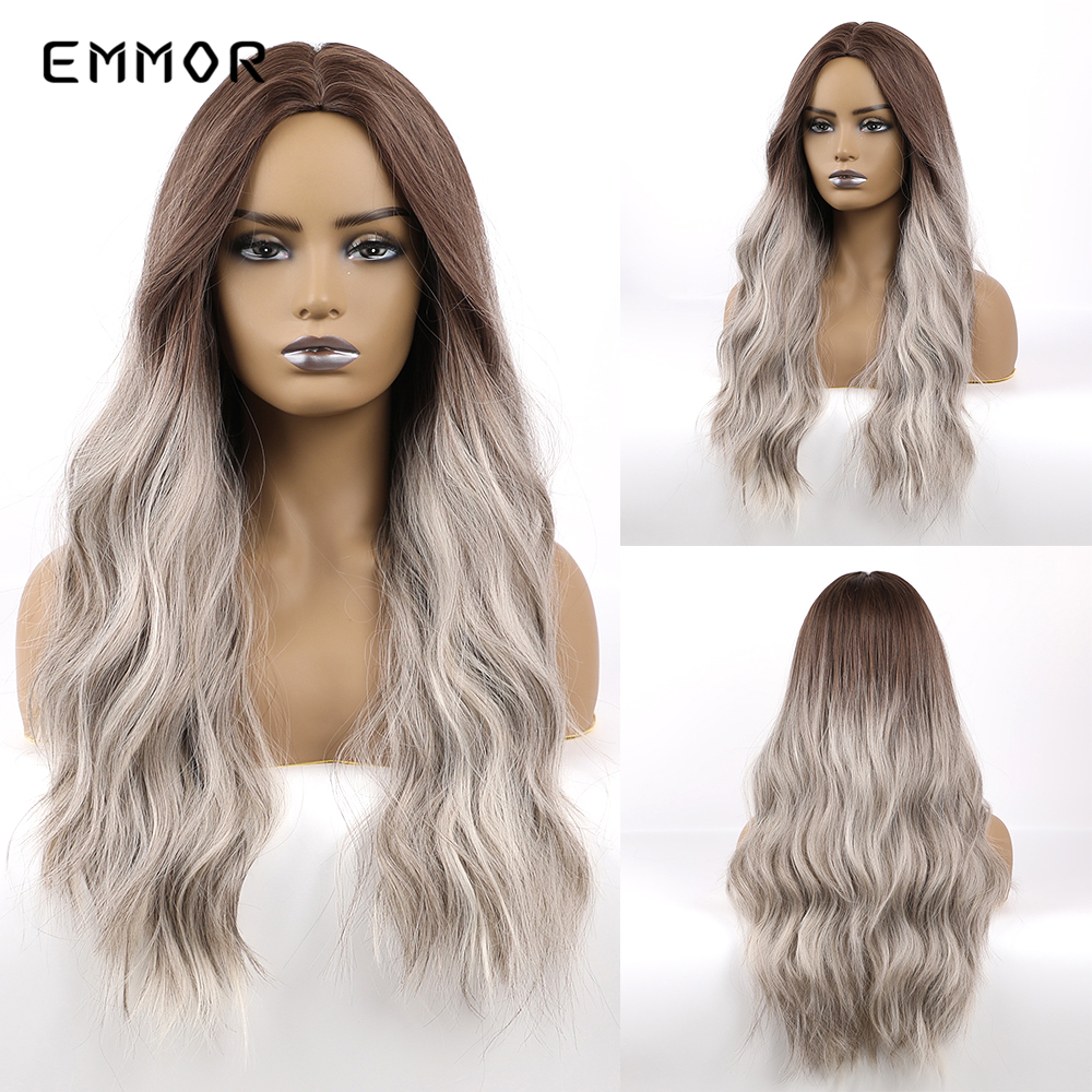 EMMOR Brown To Gray Long Natural Wave Ombre Synthetic Wigs Heat Resistant Cosplay Costume Party Middle Part Hair Wig For Women