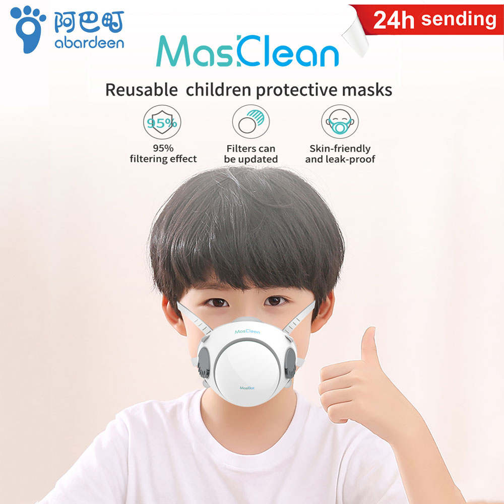 In Stock Abardeen Children Face Mask Electric Fan Kids Reusable Face Mouth Mask N95 Filter Anti PM2.5 Dust Masks  KN95/KF94/ffp2