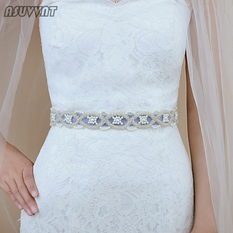 Fashion Bridal Wedding Belts With Pearls Wedding Sashes Bridal Pearls Belts Sashes For Women Girl Everning Dress Belt For Party