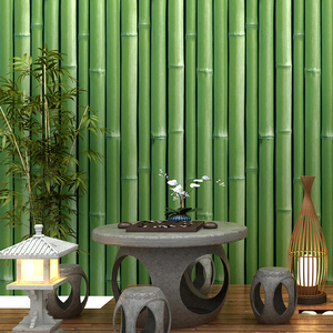 Image 2 - beibehang 3d bamboo wallpaper restaurant restaurant hotel entrance living room TV background wall papers home decor