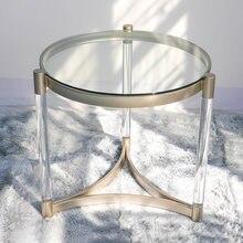 Креативный Роскошный Стеклянный Столик Маленький круглый журнальный