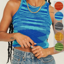 2021 Knit Y2K Top Basic Crop Tops Women Sleeveless T Shirt Casual Summer Tank Top Off Shoulder Blue T-Shirts O Neck Vintage Tees