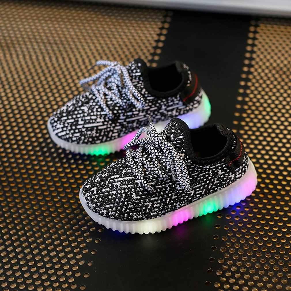 אביב ילדים הפופולריים ספורט קורן נעלי LED צבעוני אורות טיסה אמיתית ארוג לנשימה קוקוס נעליים