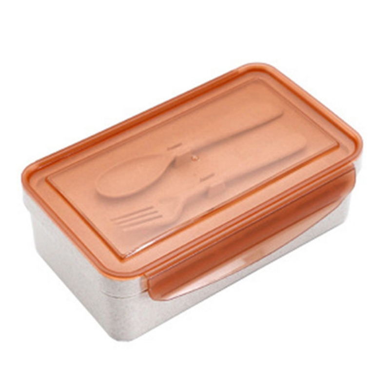 Wheat Straw Lunch Box With Spoon Fork Square Lunch Box Sealed Lunch Bento Box Set Simple Portable Lunch Box For Students