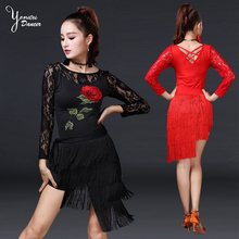 2 Pcs/Set Tops + Hip Scarf Latin Dance Costume Set Fashion Embroidery Flower Lace Sexy Tassel 2020