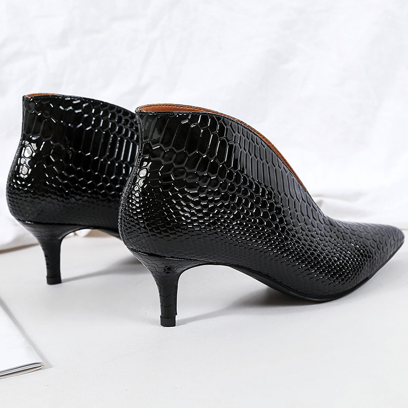 Snake Patent Leather Stilettos Pumps Women Shoes Tip Head V Mouth High Heels Women Shoes 2020 Spring Small Thin Heel Lady Pumps (17)