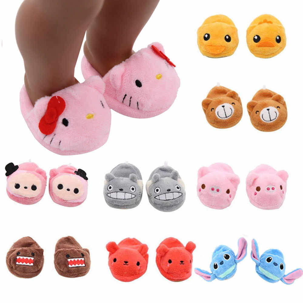 Plush Doll Slippers Shoes for 18 inch American Doll 43cm Girl Doll Cute Animal Plush Slippers Doll Dccessories Toys for Kids