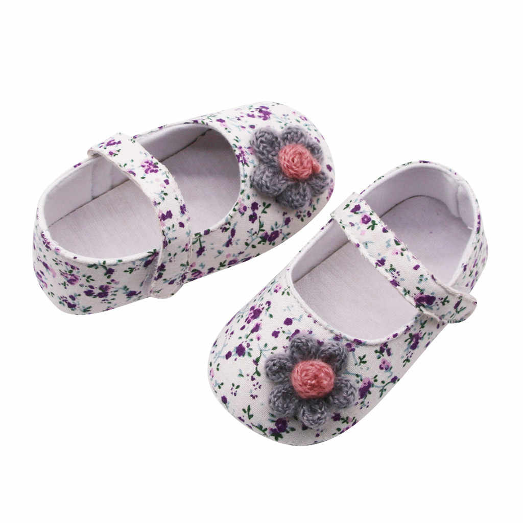Baby Shoes Newborn Baby Girls Flowers Printing Applique Prewalker Soft Sole Single Shoes zapatos bebe детская обувь ##0