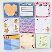 50 folhas bonito ins urso notas pegajosas folha solta decoração almofada de memorando planejador para fazer lista de papelaria bloco de notas de papel do escritório da escola
