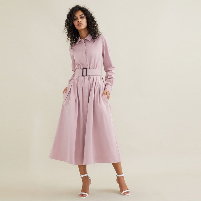 Women Vintage Sashes A-line Party Dress Long Sleeve Turn Down Collar Solid Shirt Coat Dress 2020 New Early Spring Fashion Dress