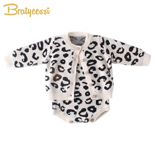 New Leopard Baby Girl Romper Cotton Knit Infant Onesie for Girls Jumpsuit Toddler Costume Born Clothes