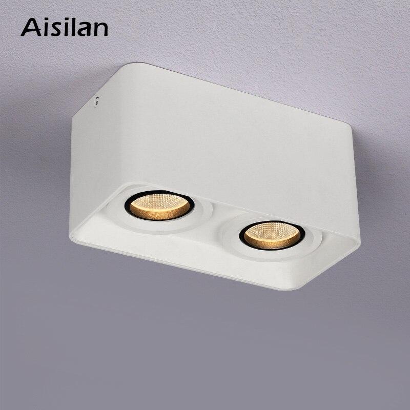 Aisilan поверхностного монтажа квадратный потолочный светильник с двойной головкой дерзкая лампа Точечный светильник потолочный поверхностн...