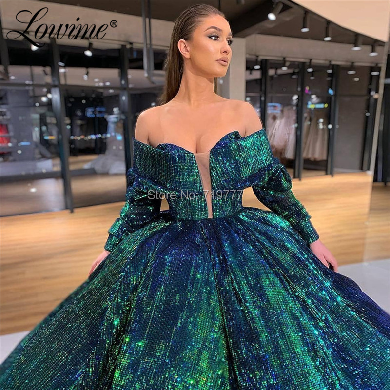 Image 3 - Luxury Arabic Evening Dress 2019 Green Sequin Ball Gown Prom Dresses Turkish Robe De Soiree Celebrity Party Dress AbendkleiderEvening Dresses   -