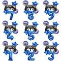 6 шт./компл. Fortnite киноспорт карнавал игра вечевечерние НКА синий ребенок день рождения цифровая алюминиевая пленка украшение воздушный шар ...
