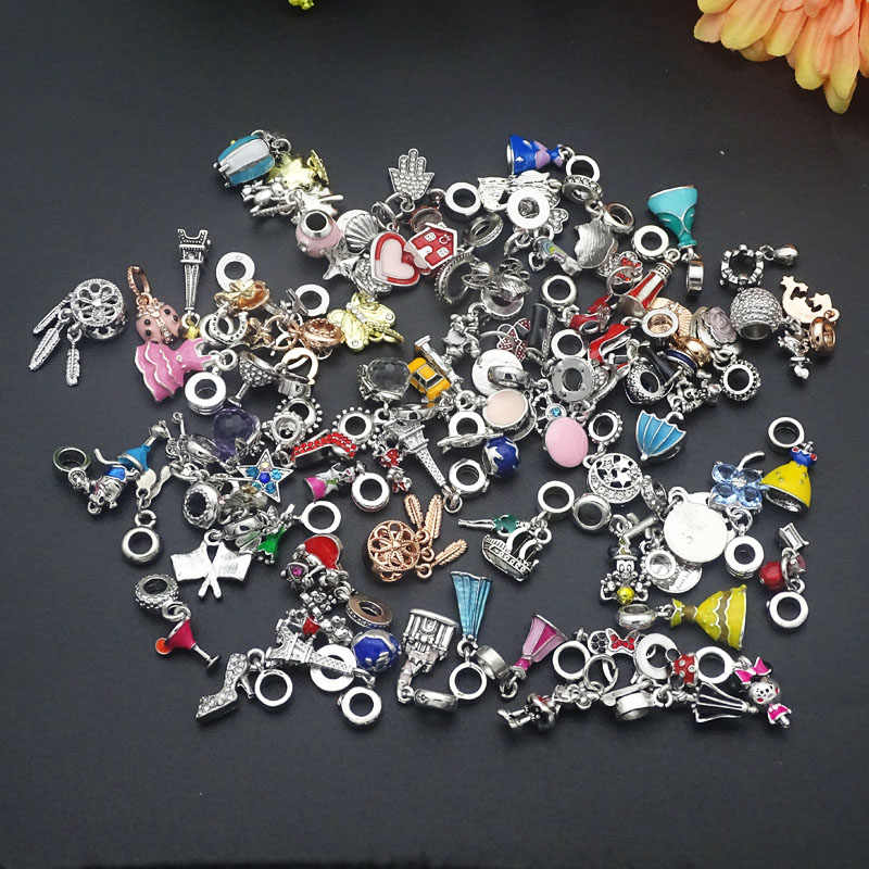 10pcs/lot Randomly mixed Color & Style Big Hole crystal Enamel Alloy Charms Beads pendants fit European Pandora Charms Bracelets