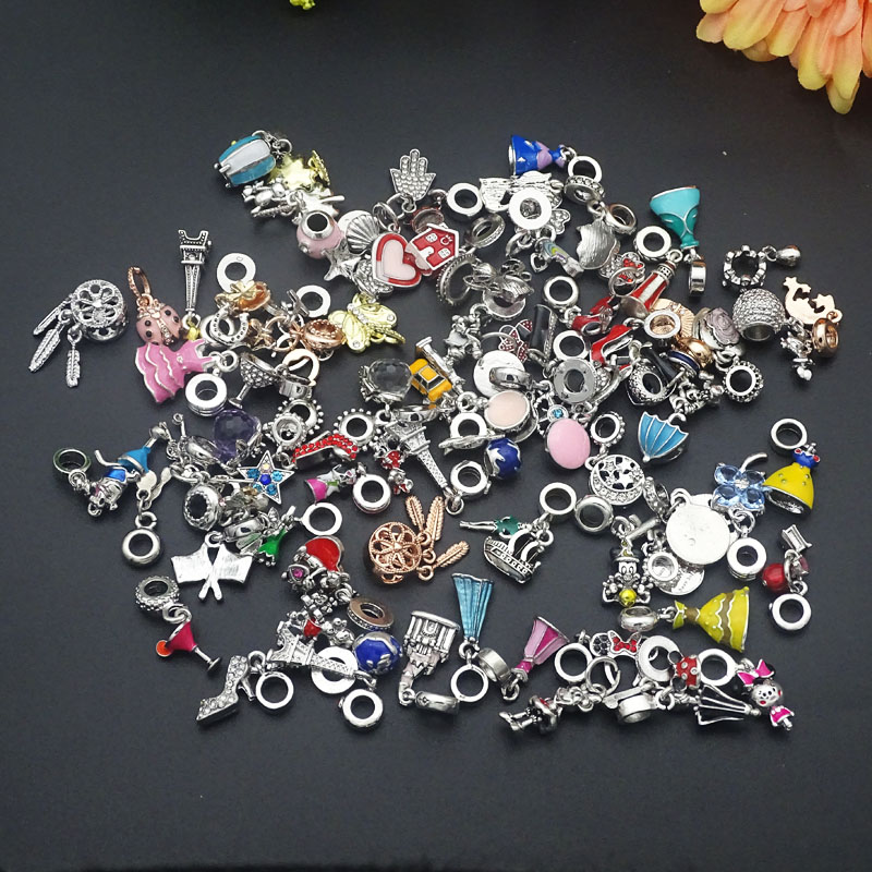 10pcs/lot Randomly mixed Color & Style Big Hole crystal Enamel Alloy Charms Beads pendants fit European Pandora Charms Bracelets(China)