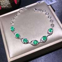 exquisite bracelet elegant green emerald gem bracelet women 18K gold bracelet natural real gem birthday party girl gift