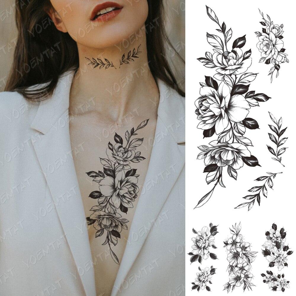 Waterproof Temporary Tattoo Sticker Peony Plum Blossom Green Leaf Flash Tattoos Female Minimalist Sketch Body Art Fake Tatto Men