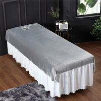 Beauty Salon Crystal velvet Sheets Spa Massage Bed Linens With Hole Dedicated Adult Flat Sheet #/