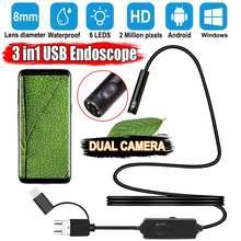 Эндоскоп с камерой 2 МП hd 1080p ip67 двойным объективом 8 мм