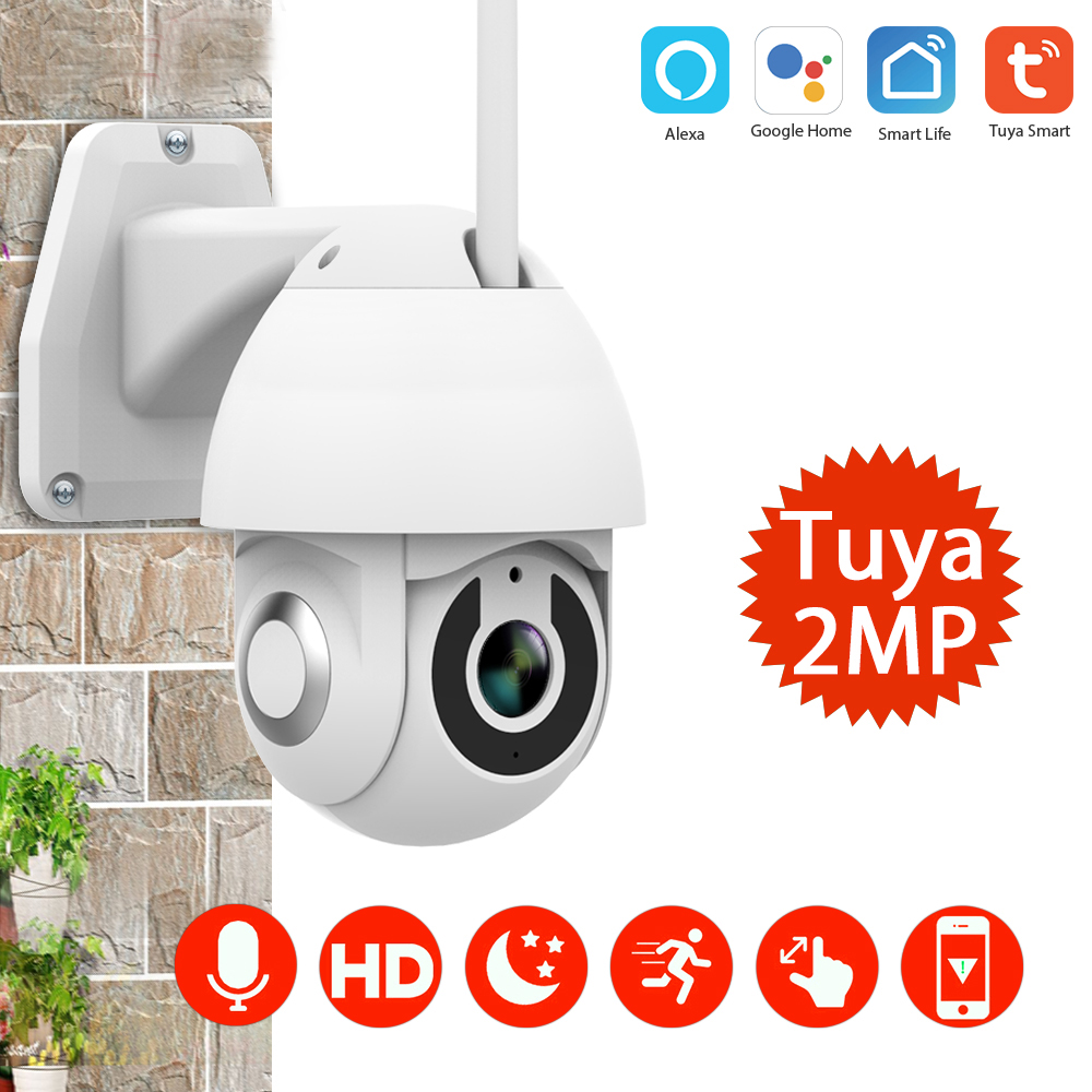 HD 1080P Mini PTZ Wifi IP Camera Tuya Smart Auto-Tracking 2.0MP Wireless Outdoor Waterproof High Speed Dome Security CCTV Camera