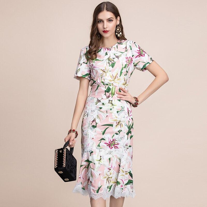 Baogarret Women Spring Summer Dress Runway Fashion Designer Short Sleeve Gorgeous Lace Flower Printed Elegant Slim Dresses
