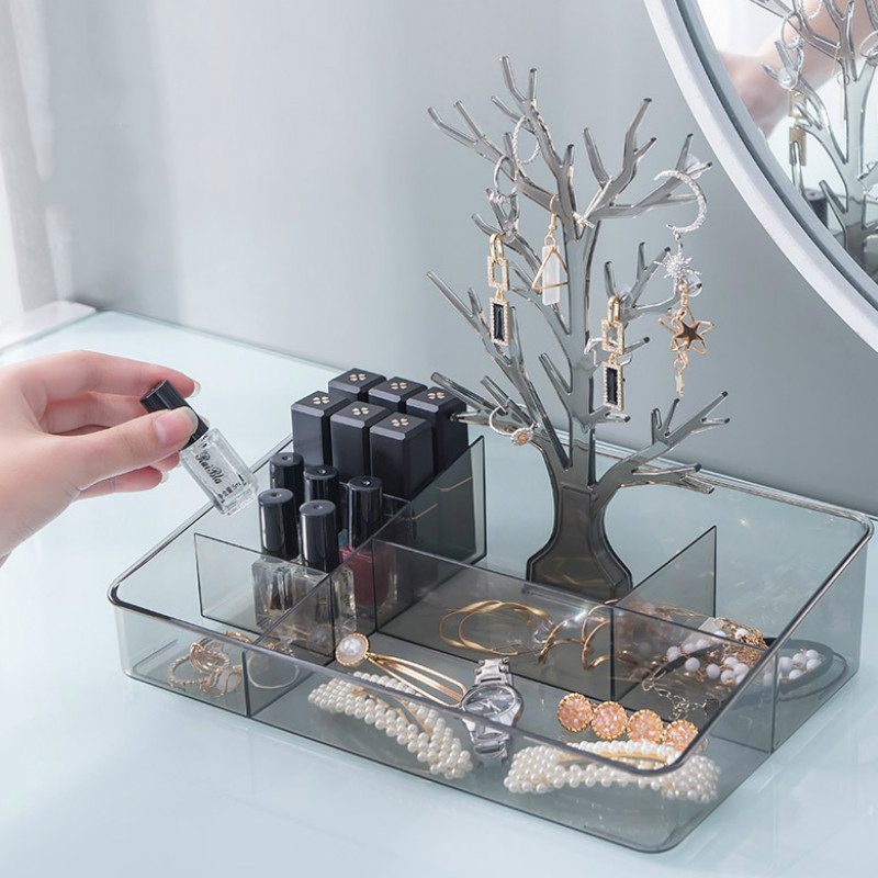 Desktop Jewelry Storage Box Rack Make Up Organizer Lipstick Storage Holdr Tree Shape Storage Tray Earrings Necklace Container|Storage Boxes & Bins| |  - title=
