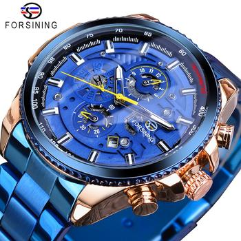 цена Forsining Rose Golden Case Blue Stainless Steel Mens Business Sport Mechanical Automatic Wrist Watch Three Dialy Multifunction онлайн в 2017 году