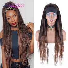 Wig-Box Braid-Wigs Headband Black-Women Natural-Looking Ombre Synthetic Long for Heat-Resistant