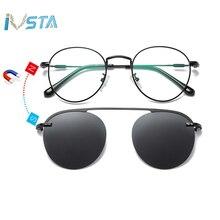IVSTA Clip On Glasses Men Sunglasses Women Magnetic Myopia Round Metal Optical Frame Prescription