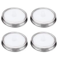 4Pcs Waterless White Food Grade Silicone Fermentation Airlocks Lids Fermenting Covers Kit Bands for Wide Mason Jars Sealing Leak|Tea Tureen| |  -