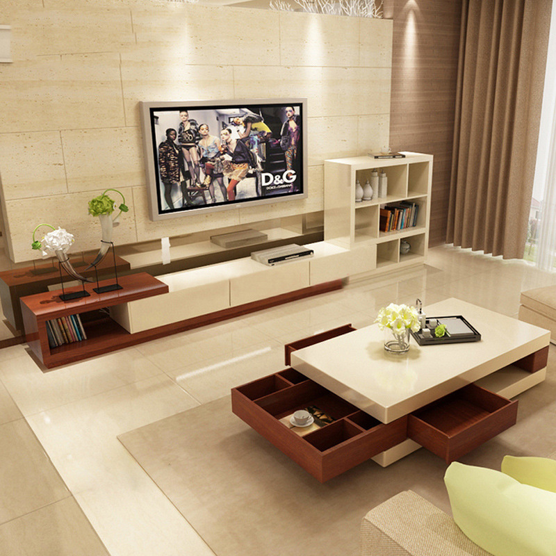 Modern Northern European-Style TV Cabinet-Style Retractable TV Cabinet Modern Living Room Furniture Set Cabinet