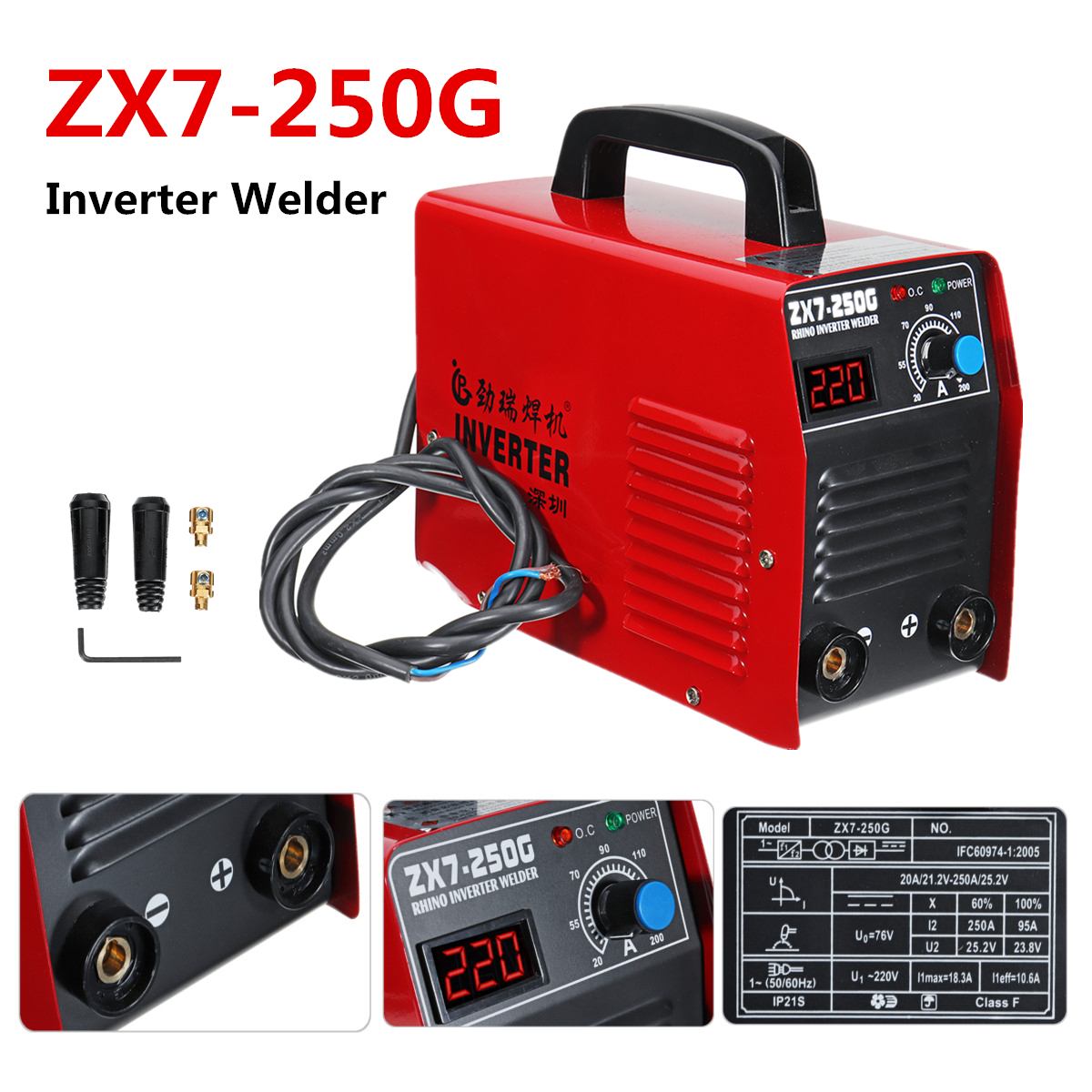 ZX7-250G IGBT Portable 200AMP 60W Welding Inverter Machine Arc Welders For DIY Welding Working And Electric Working