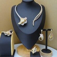 Yuminglai luksusowe mosiądz Cubic cyrkon zestawy biżuterii dla kobiet Wedding Bridal FHK8588