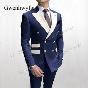 Gwenhwyfar Solid Navy Men Party Tuxedos Suits 2 Pieces Latest Mix Color White Lapel Men Suits Gold Buttons Fashion Style Suits