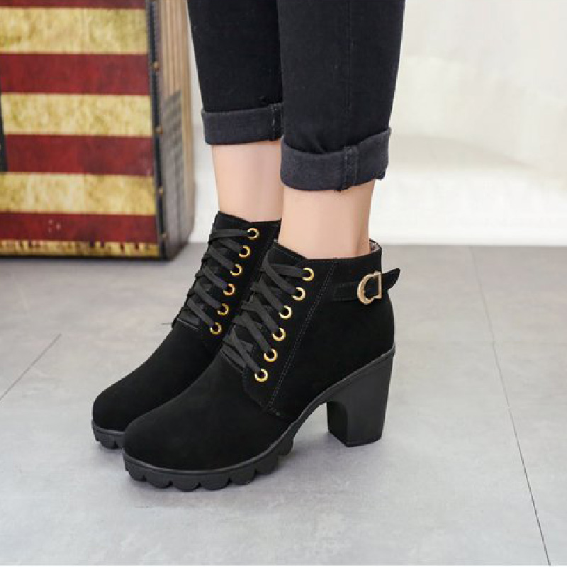 2020 New Women's High Heels Boots Suede Shoes Woman Round Head Solid Color Lace Up Fashion Women's Winter Boots35-41 Botas Mujer