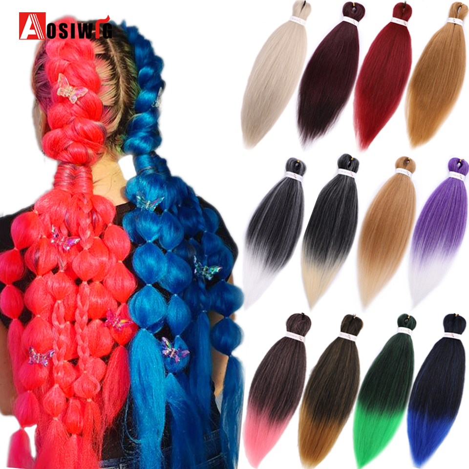 AOSIWIG Ombre Pre Stretched Braiding Hair Extensions Jumbo Braids Hair Synthetic Crochet Braids for Passion Twist Hair image