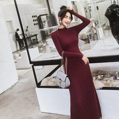 Femmes mince longue Maxi tricot robe pull automne hiver à manches longues plissée robe a-ligne grande balançoire dames pull robes - 3