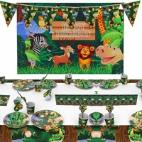 61Pcs Cartoon Jungle Animal Disposable Party Tableware Sets for Kid Birthday Party Decoration Jungle Background Party Supplies