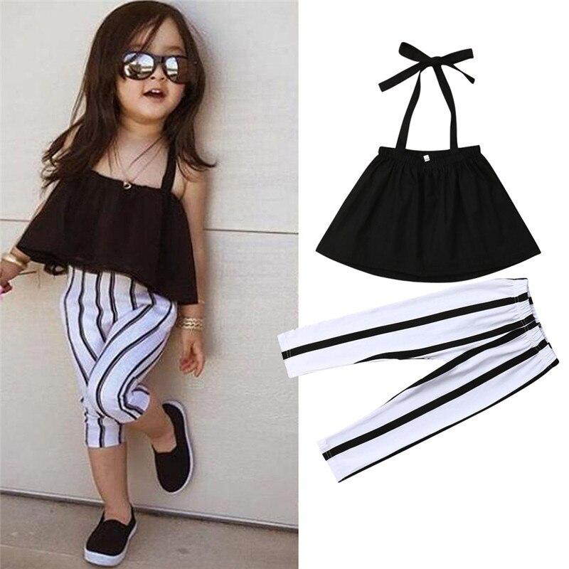 От 1 до 6 лет, милая летняя одежда для девочек, штаны топы для малышей + одежда в полоску детские леггинсы для девочек детская одежда на