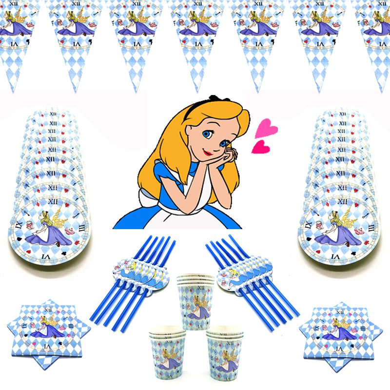 Alice in Wonderland Theme Birthday Party Set Decorations Paper Cup Kids Girl Children Day Alice Party Supplies Afternoon Tea Set