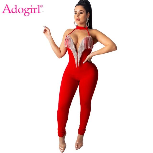 Adogirl Diamonds Tassel Halter Jumpsuit Women Sexy Strapless V Neck Bandage Romper Backless Night Club Overalls Bodysuits 2