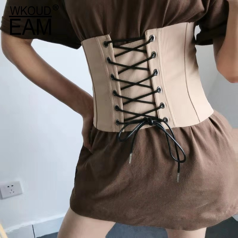 WKOUD EAM 2020 New Fashion Autumn Trendy Wid Belt Women Solid Classcial Cummerbunds Drawstring Korea Corset Belt Female ZJ908