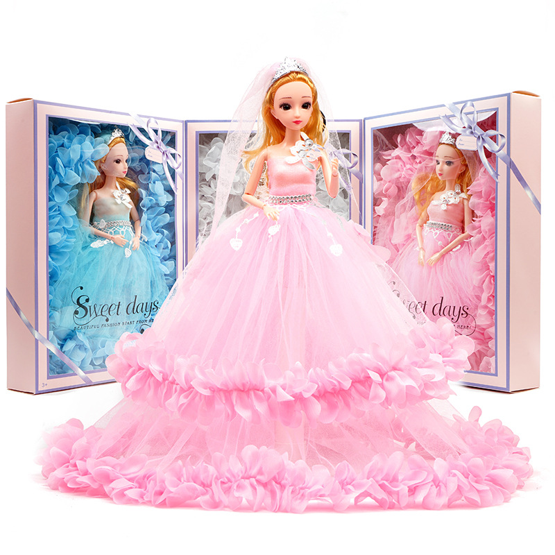 40cm Wedding Princess Doll Girl Best Toy Gift Party Prom Dress Skirt Gift Box Set Children Play House Dress Up Kids Toys New S01